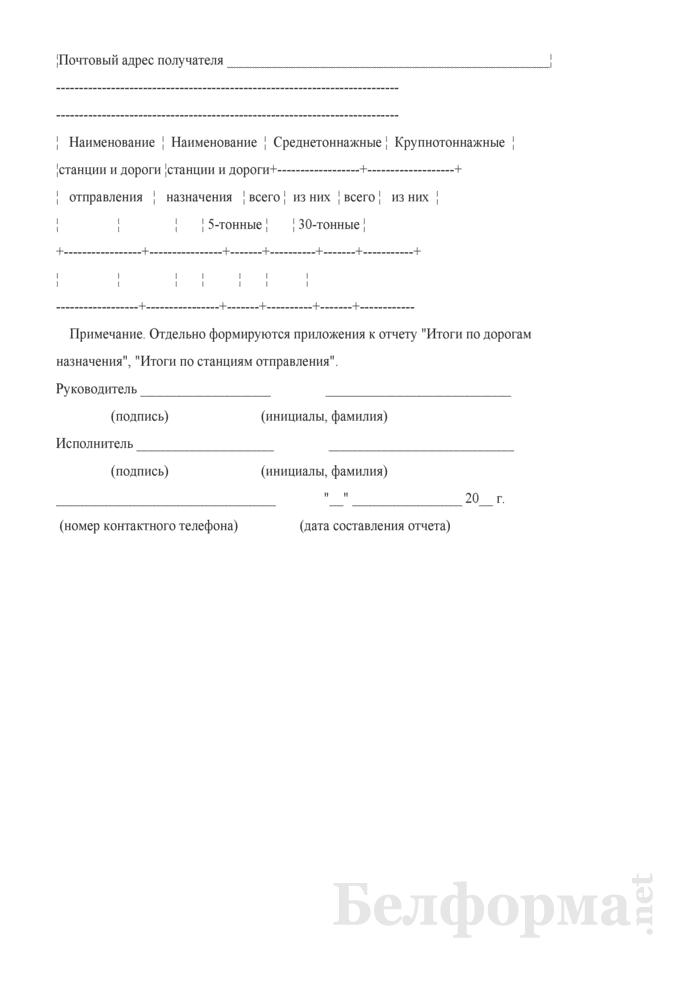 Отчет об отправлении контейнеров по станциям назначения (Форма № КЭО-2 (2 раза в год)). Страница 2