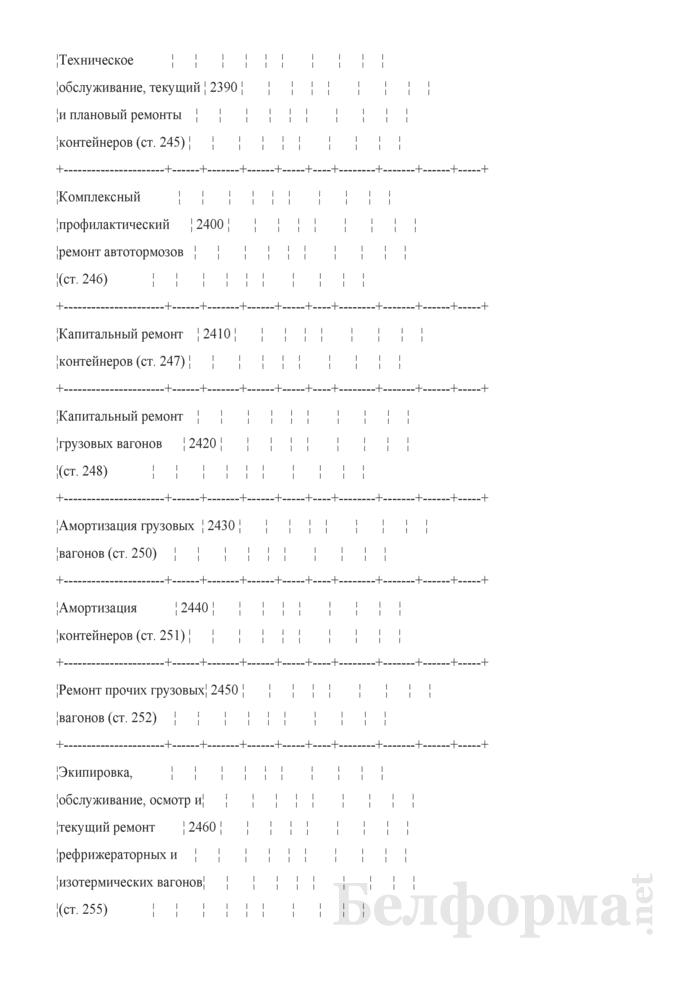 Отчет по основным показателям производственно-финансовой деятельности организаций Белорусской железной дороги (по видам деятельности) (Форма № 69-жел (квартальная)). Страница 42
