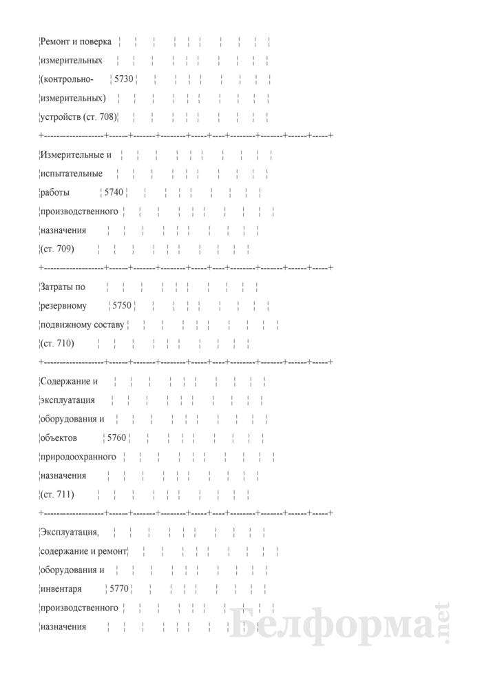 Отчет по основным показателям производственно-финансовой деятельности организаций Белорусской железной дороги (по видам деятельности) (Форма № 69-жел (квартальная)). Страница 97