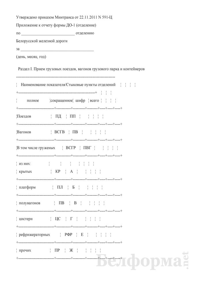 Приложение к отчету формы ДО-1 (отделение). Страница 1