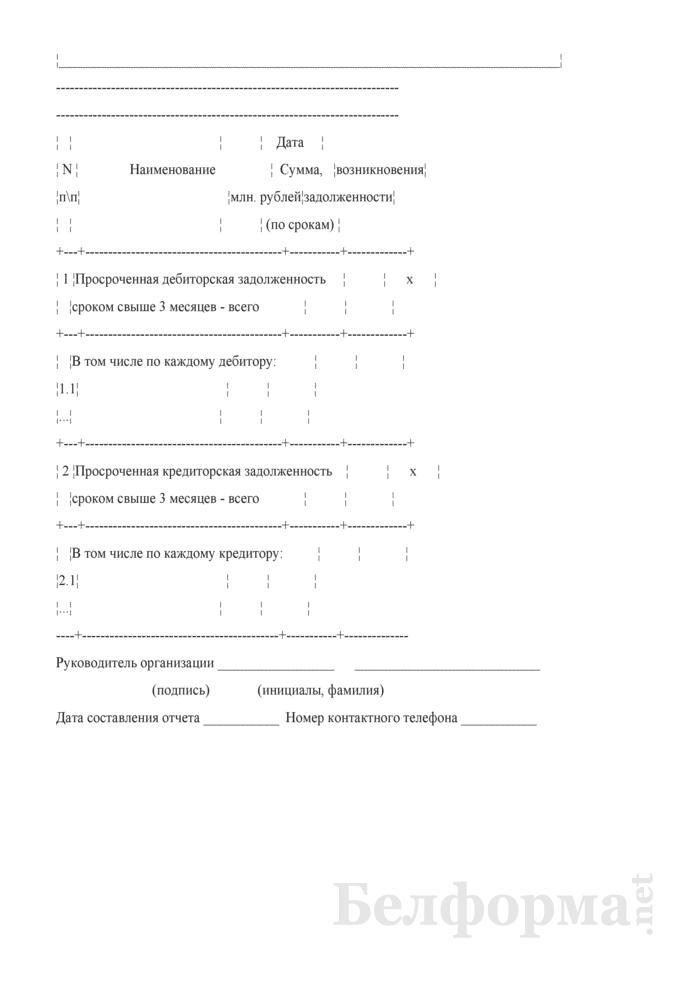 Сведения о просроченной дебиторской и кредиторской задолженности сроком свыше 3 месяцев. Страница 2