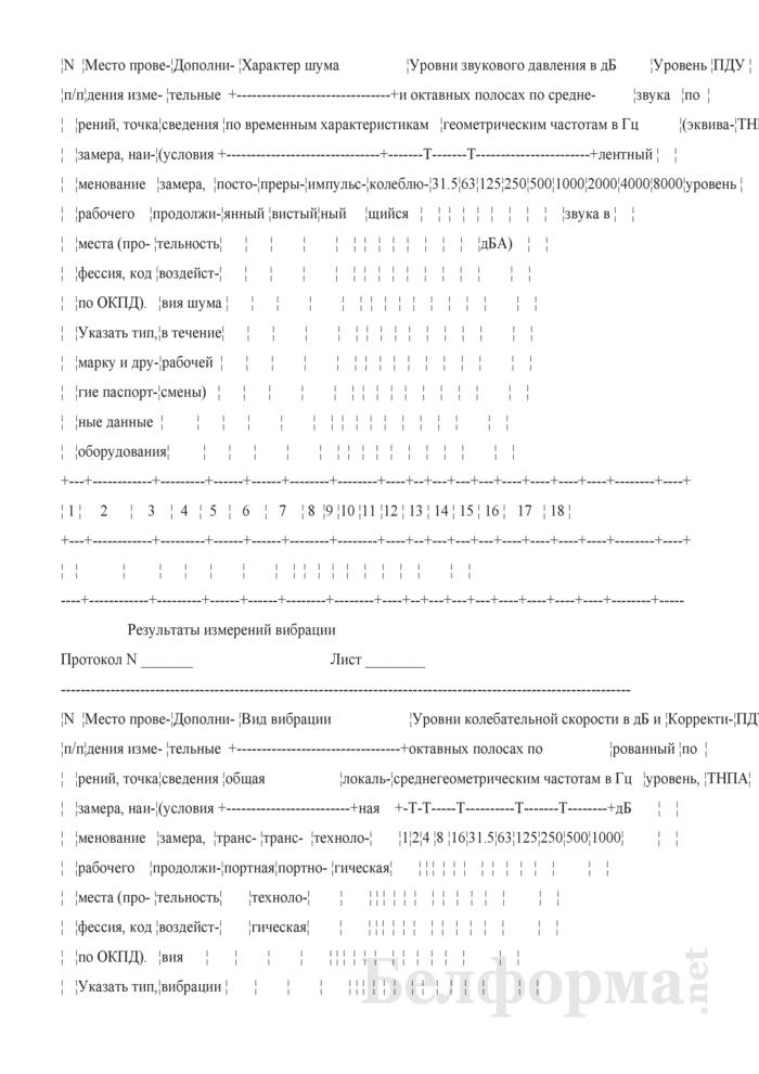 Протоколы результатов исследования. Страница 2