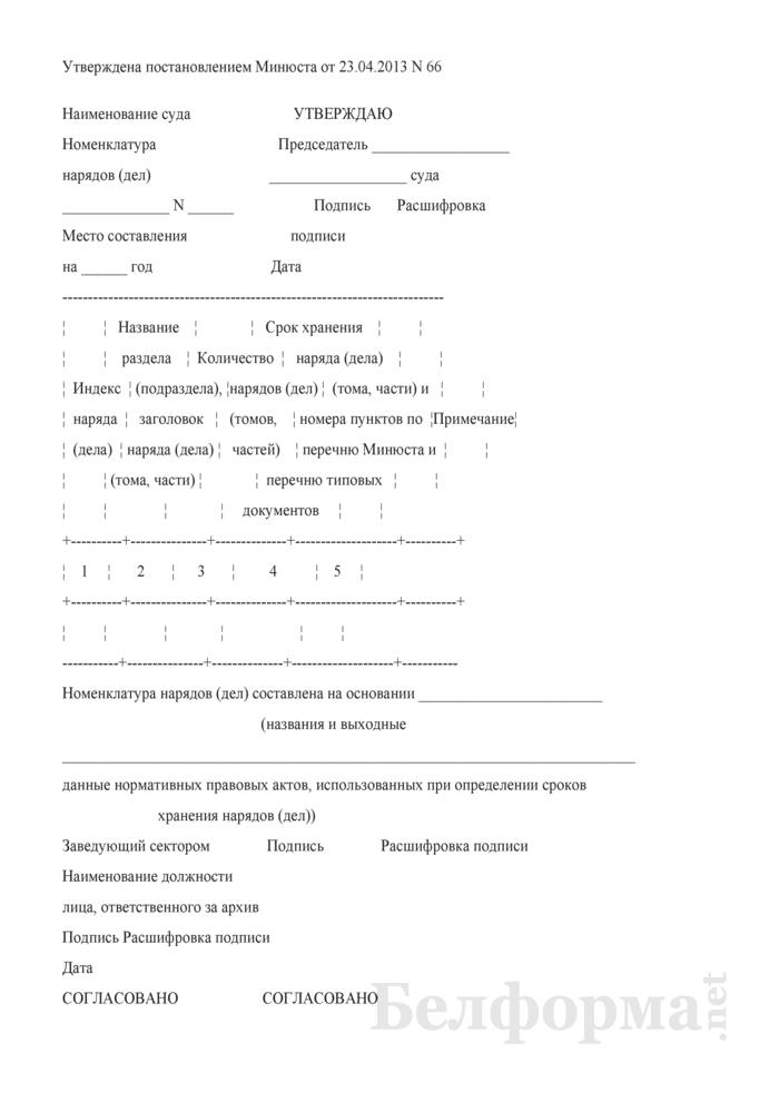 Номенклатура нарядов (дел) (в областных, Минском городском, Белорусском военном судах Республики Беларусь). Страница 1