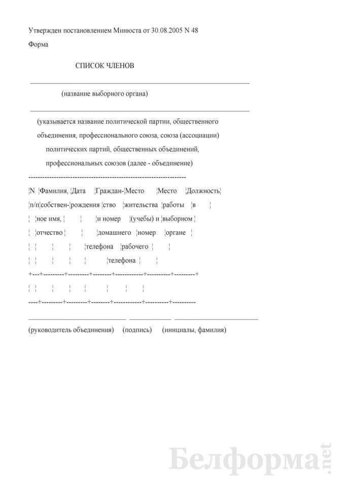 Список членов объединения, профессионального союза, союза (ассоциации) политических партий, общественных объединений, профессиональных союзов. Страница 1
