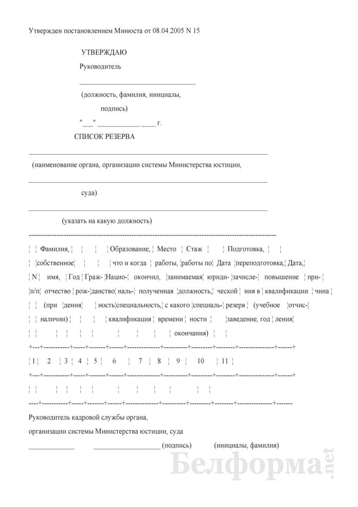 Список резерва на должности кадрового реестра. Страница 1