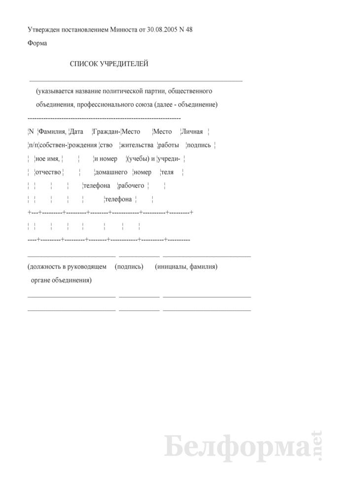 Список учредителей политической партии, общественного объединения, профессионального союза. Страница 1