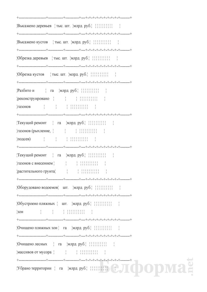 Отчет об объемах работ по благоустройству и санитарному содержанию населенных пунктов, выполненных организациями жилищно-коммунального хозяйства (квартальная). Страница 7