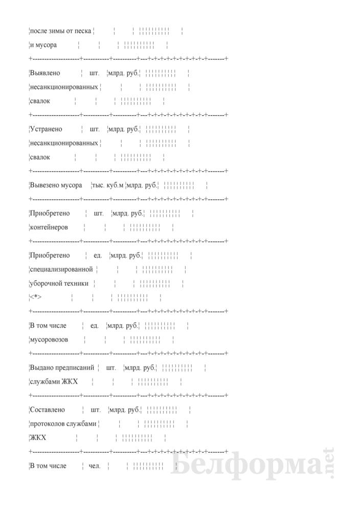 Отчет об объемах работ по благоустройству и санитарному содержанию населенных пунктов, выполненных организациями жилищно-коммунального хозяйства (квартальная). Страница 8