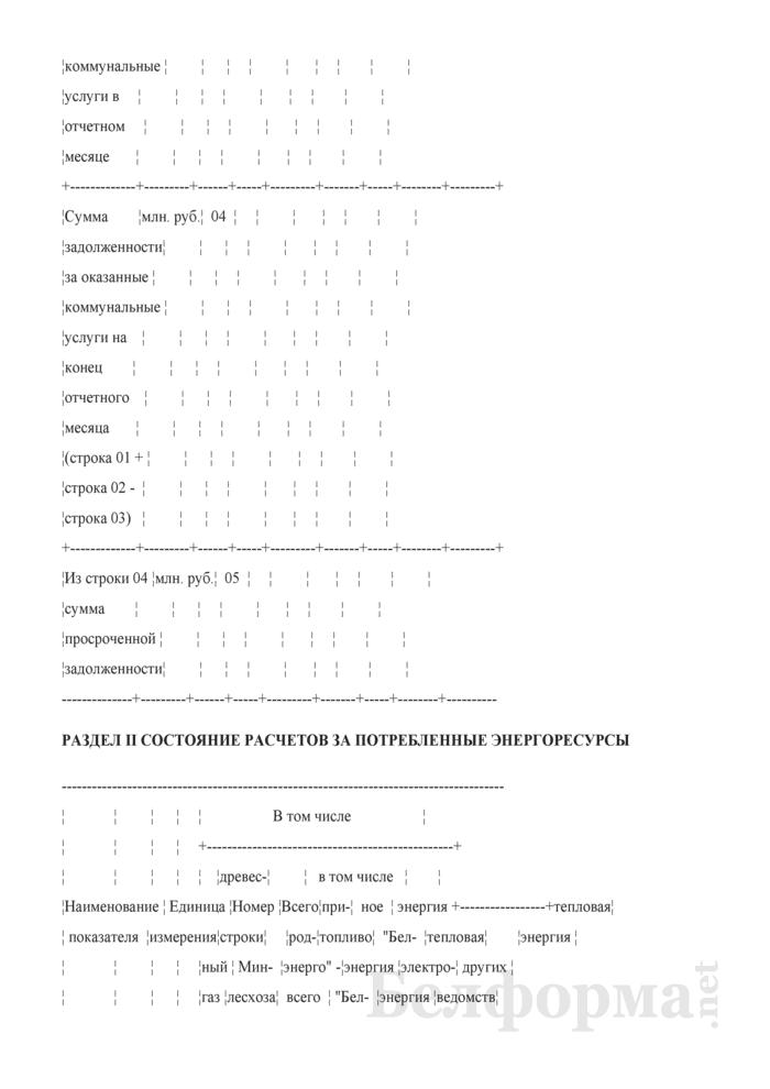 Сведения о состоянии расчетов за оказанные коммунальные услуги и потребленные энергоресурсы (месячная). Страница 4
