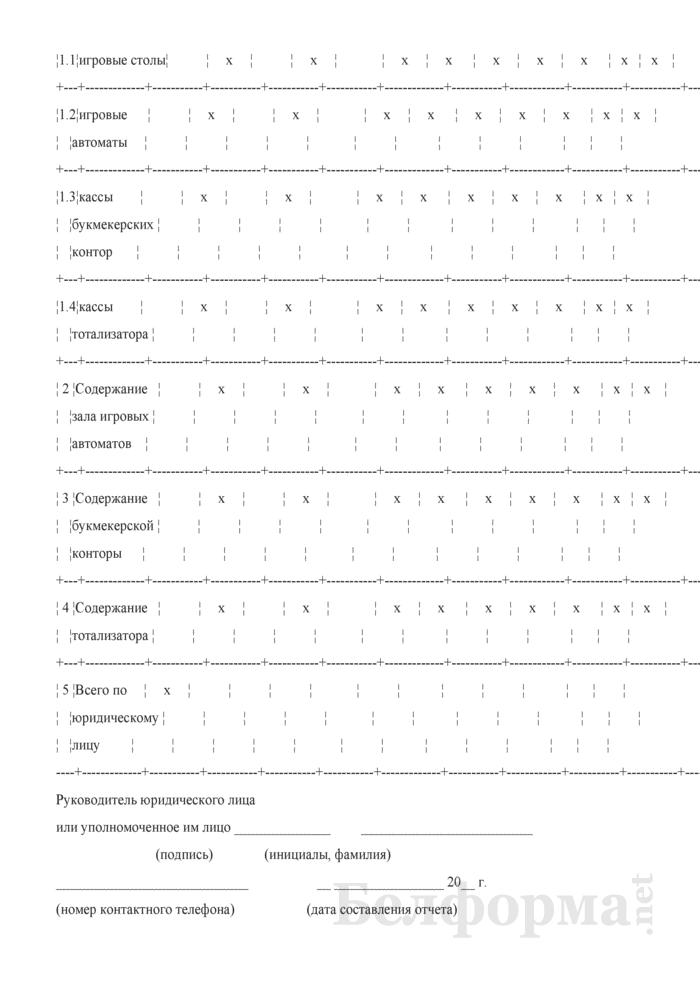 Отчет об итогах работы в сфере игорного бизнеса (Форма (годовая, полугодовая)). Страница 3