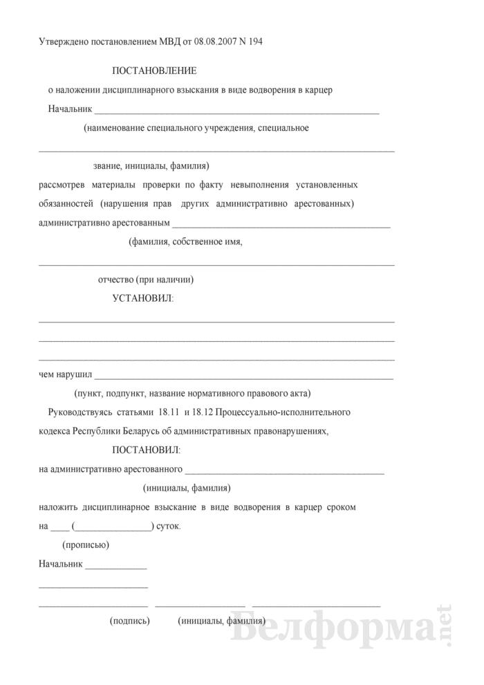 Постановление о наложении дисциплинарного взыскания в виде водворения в карцер. Страница 1