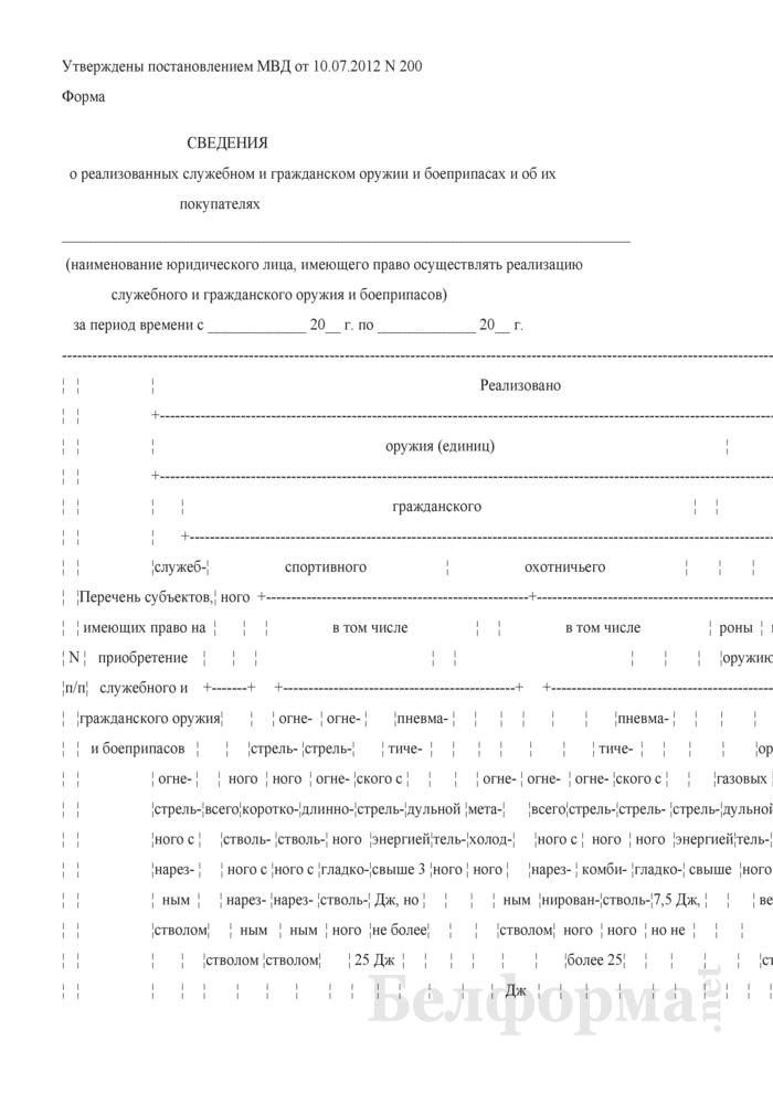 Сведения о реализованных служебном и гражданском оружии и боеприпасах и об их покупателях. Страница 1