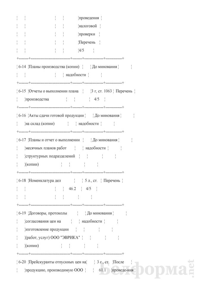 Номенклатура дел планово-экономического отдела. Страница 3