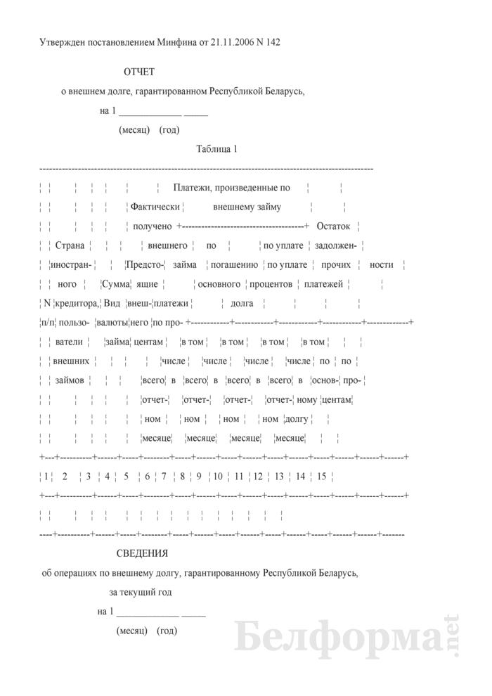 Отчет о состоянии внешнего государственного долга. Страница 1