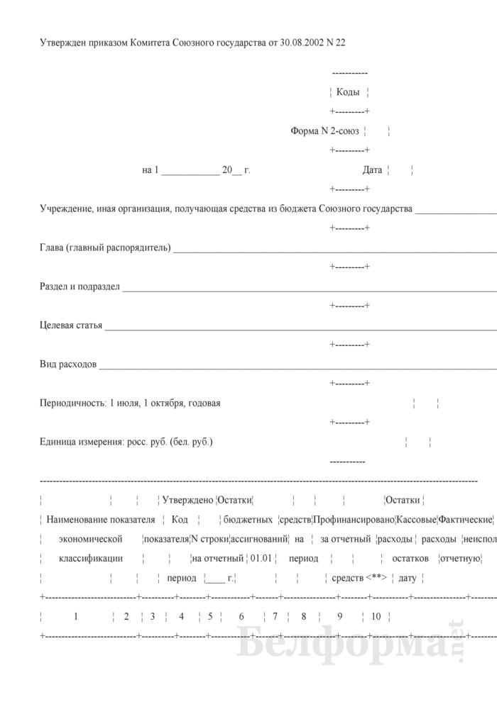 Отчет об исполнении сметы расходов по средствам бюджета Союзного государства (Форма № 2-союз). Страница 1