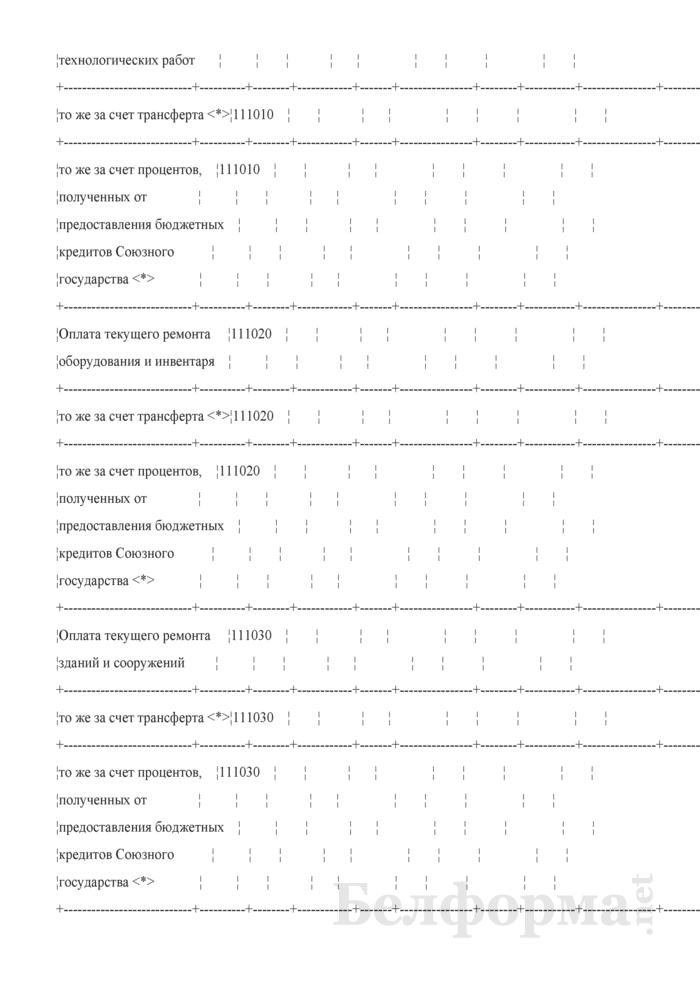 Отчет об исполнении сметы расходов по средствам бюджета Союзного государства (Форма № 2-союз). Страница 11