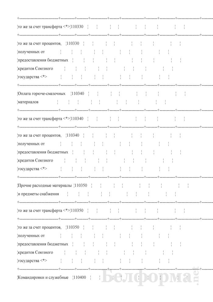 Отчет об исполнении сметы расходов по средствам бюджета Союзного государства (Форма № 2-союз). Страница 5