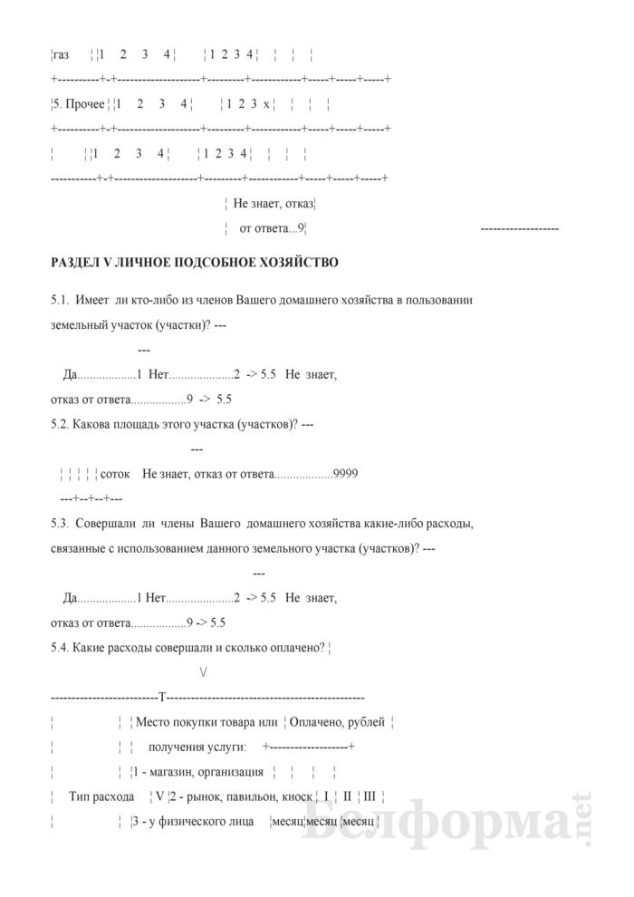 Ежеквартальный вопросник по расходам и доходам домашних хозяйств (Форма 4-дх (вопросник) (квартальная). Страница 20