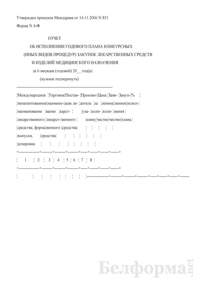 Отчет об исполнении годового плана конкурсных (иных видов процедур) закупок лекарственных средств и изделий медицинского назначения. Форма № 4-Ф. Страница 1