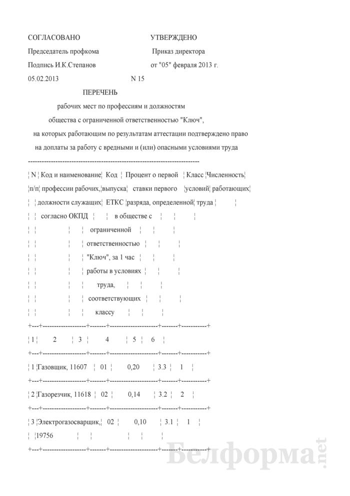 Перечень рабочих мест по профессиям и должностям, на которых работающим по результатам аттестации подтверждено право на доплаты за работу с вредными и (или) опасными условиями труда (Образец заполнения). Страница 1