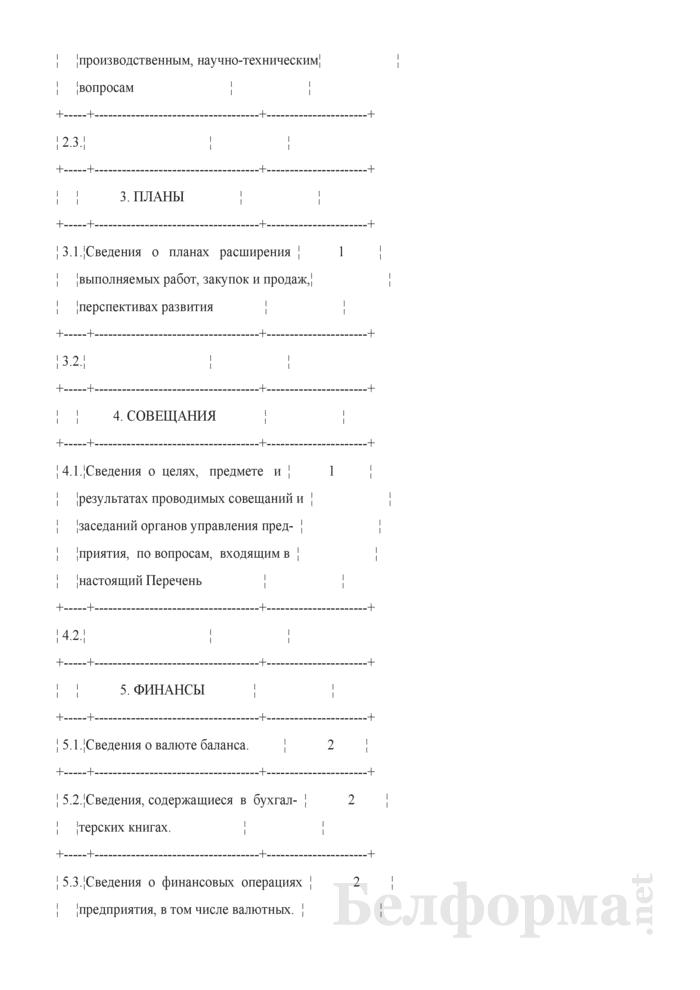 Перечень сведений, составляющих коммерческую тайну предприятия. Страница 2