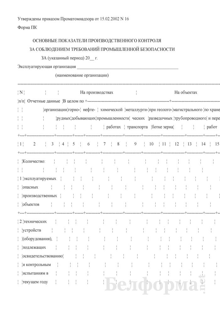 Основные показатели производственного контроля за соблюдением требований промышленной безопасности. Форма ПК. Страница 1
