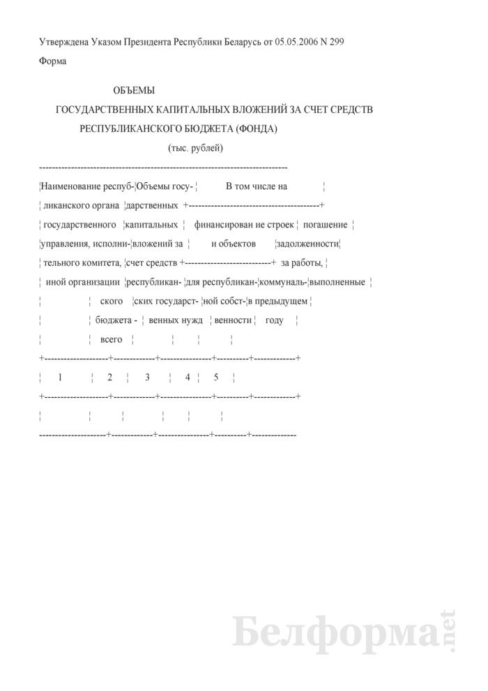 Объемы государственных капитальных вложений за счет средств республиканского бюджета (фонда). Страница 1