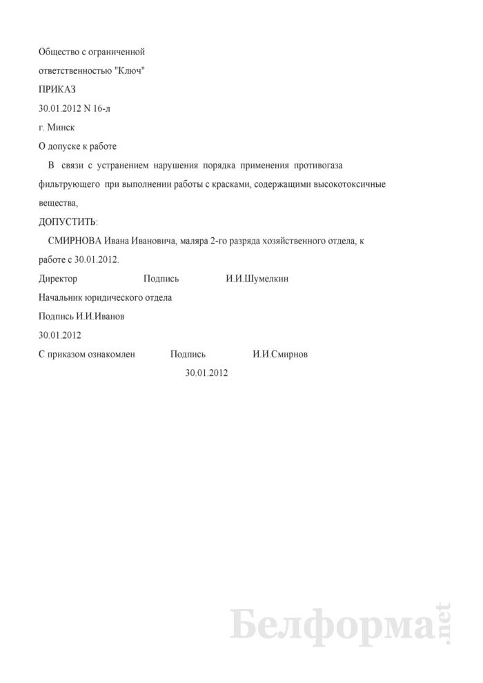Приказ о допуске к работе в связи с использованием требуемых СИЗ (Образец заполнения). Страница 1