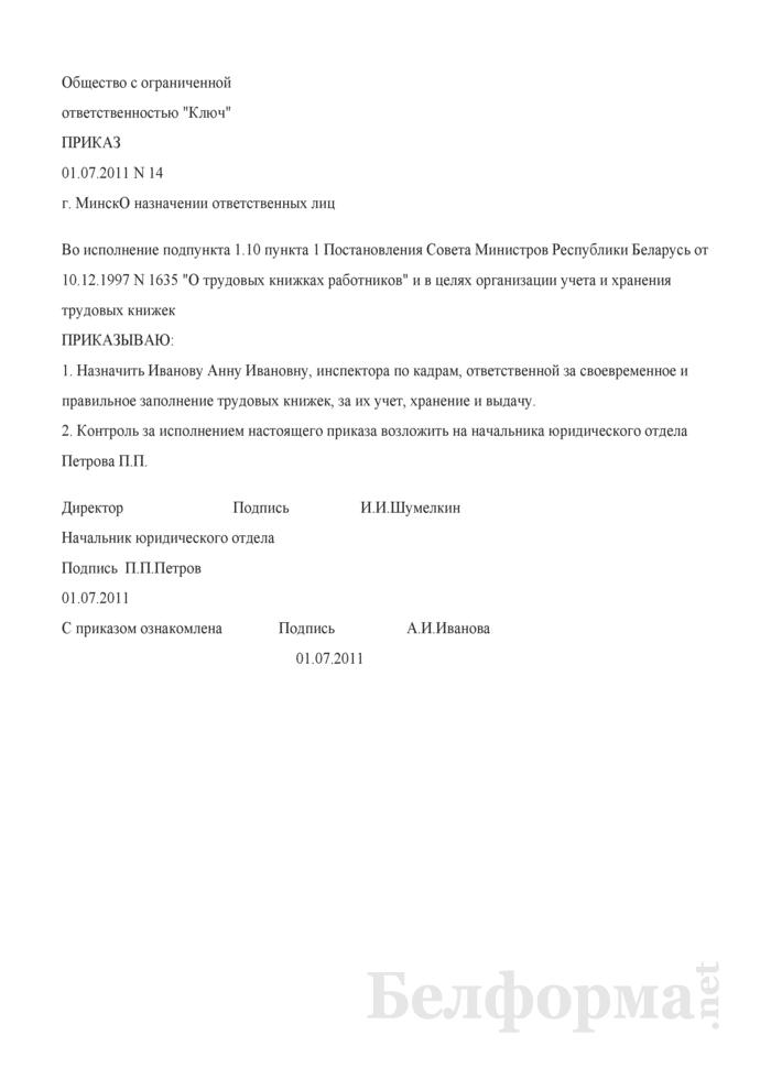 Приказ о назначении лица, ответственного за своевременное и правильное заполнение трудовых книжек, за их учет, хранение (Образец заполнения). Страница 1