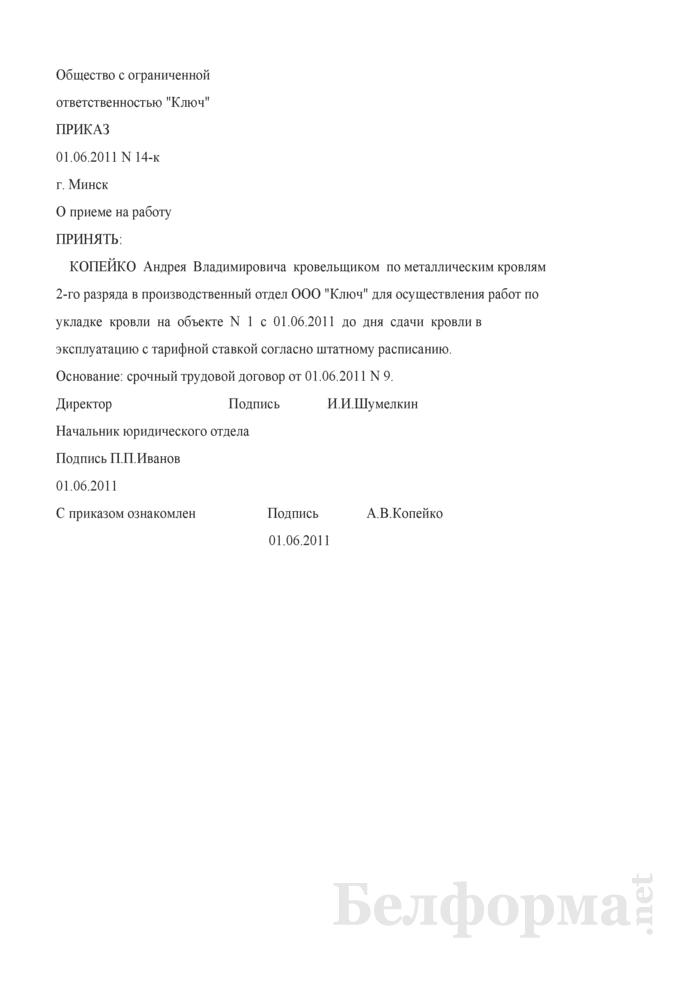 Приказ о приеме на работу на время выполнения определенной работы (Образец заполнения). Страница 1