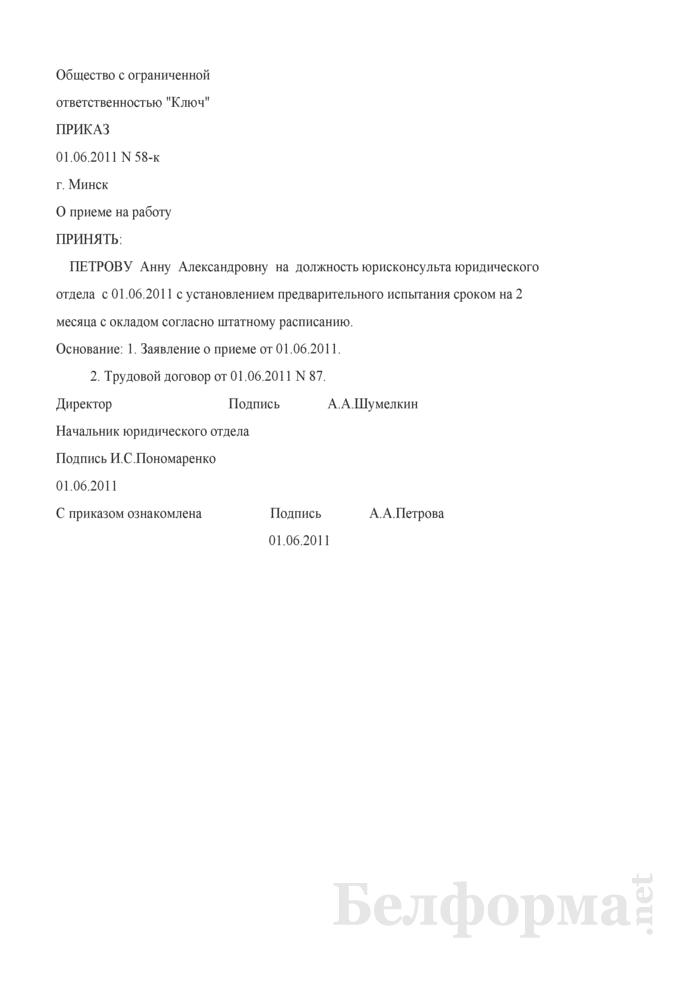Приказ о приеме на работу с предварительным испытанием (Образец заполнения). Страница 1