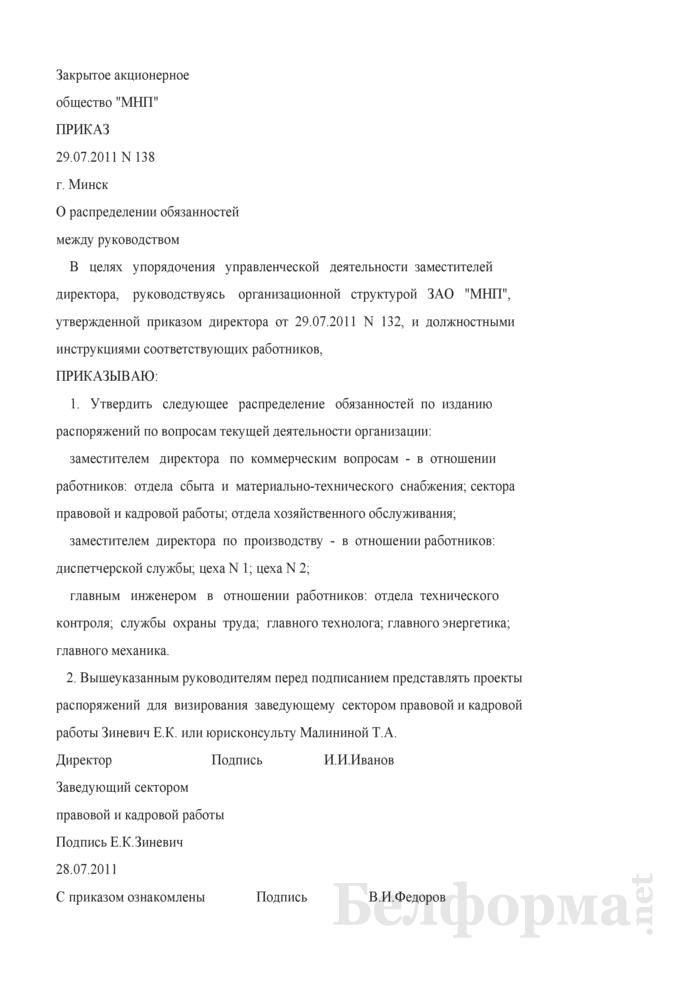 Приказ о распределении обязанностей между руководством (Образец заполнения). Страница 1