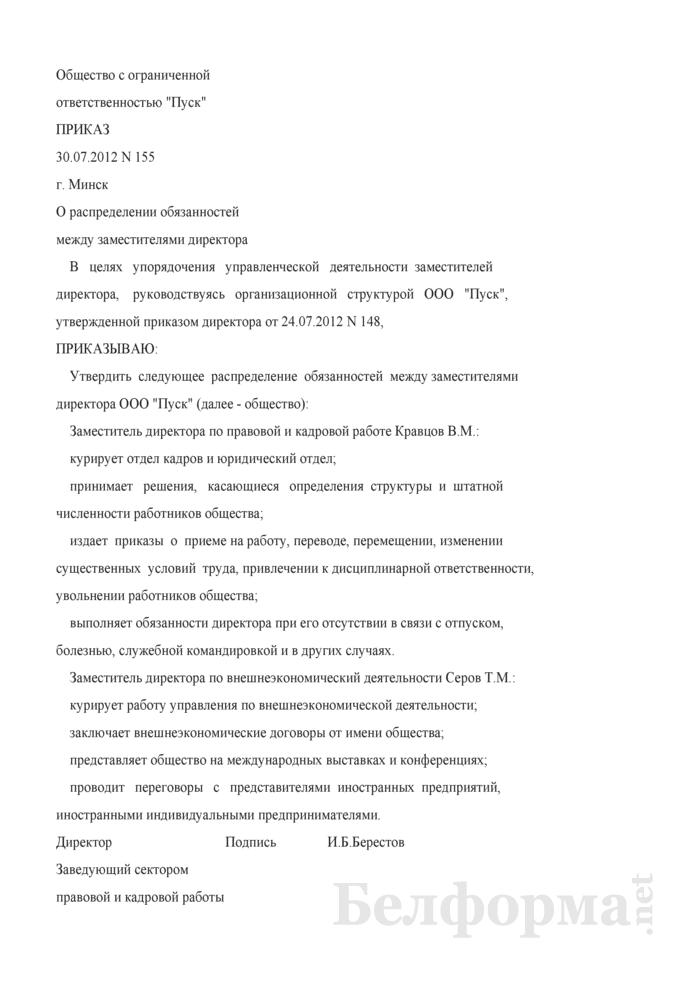 Приказ о распределении обязанностей между заместителями руководителя (Образец заполнения). Страница 1
