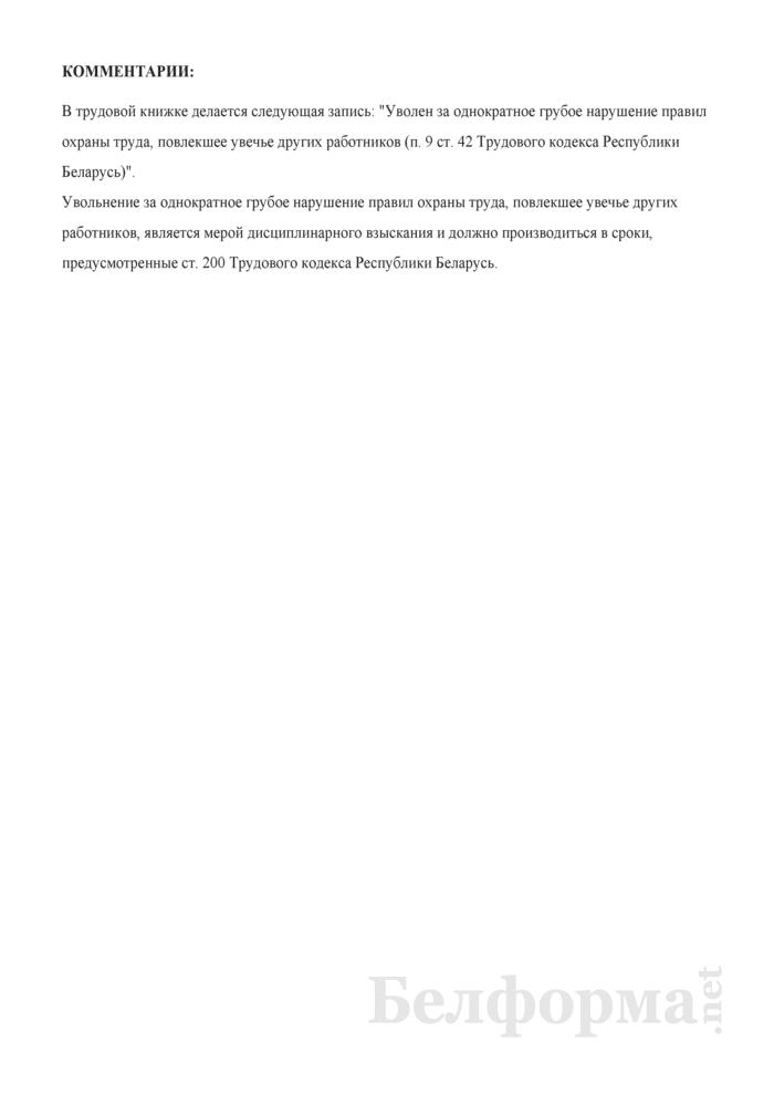 Приказ о расторжении трудового договора за однократное грубое нарушение правил охраны труда, повлекшее увечье других работников (с примером записи в трудовую книжку). Страница 2