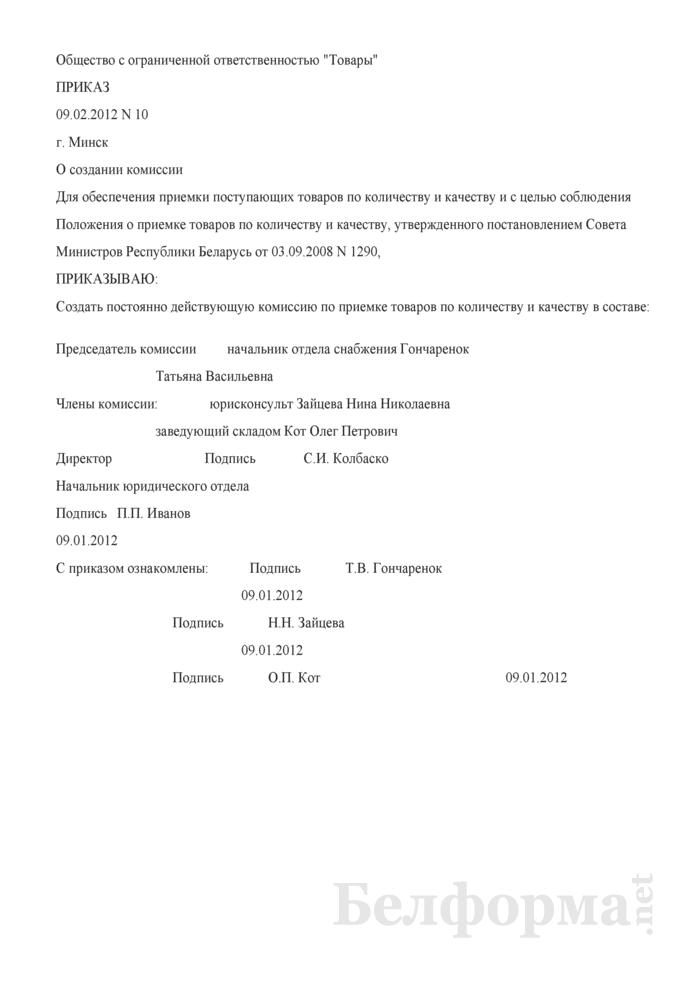 Приказ о создании комиссии (Образец заполнения). Страница 1