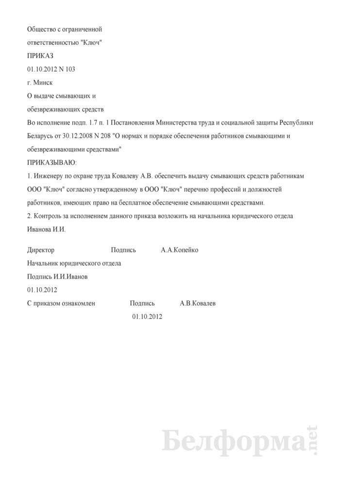 Приказ о выдаче смывающих и обезвреживающих средств (Образец заполнения). Страница 1