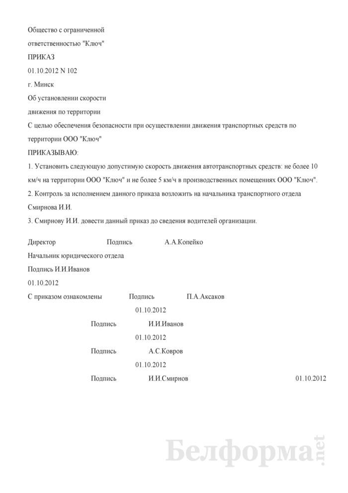 Приказ об установлении скорости движения на территории организации (Образец заполнения). Страница 1