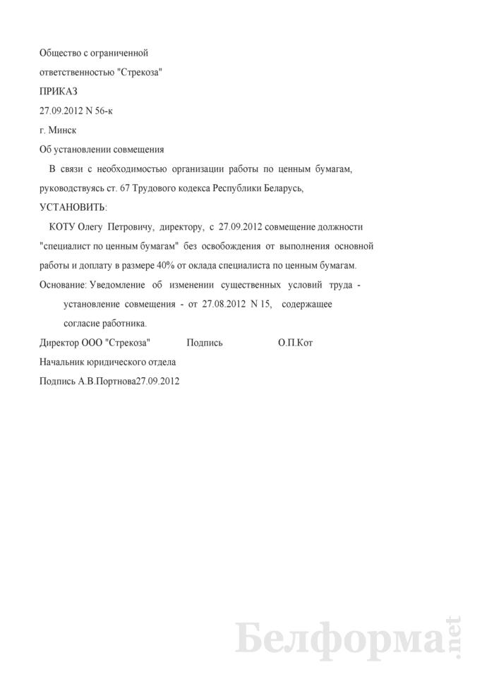 Приказ об установлении совмещения руководителю организации по инициативе нанимателя (Образец заполнения). Страница 1
