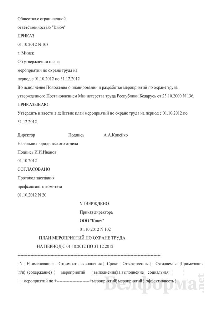Приказ об утверждении плана мероприятий по охране труда (Образец заполнения). Страница 1