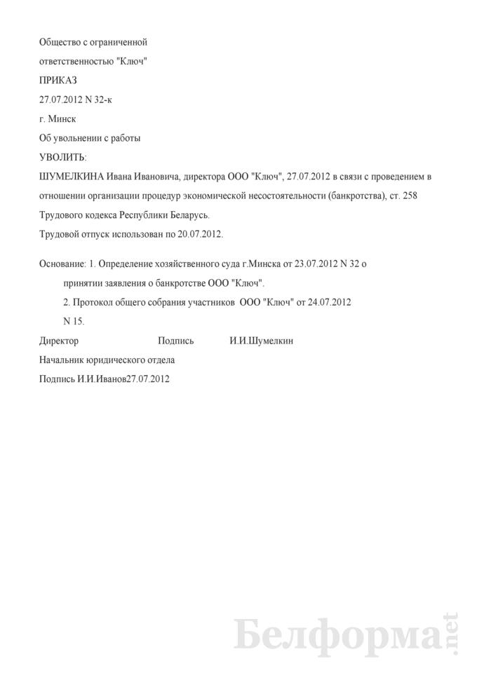 Приказ об увольнении руководителя хозяйственного общества в соответствии со ст. 258 ТК (Образец заполнения). Страница 1