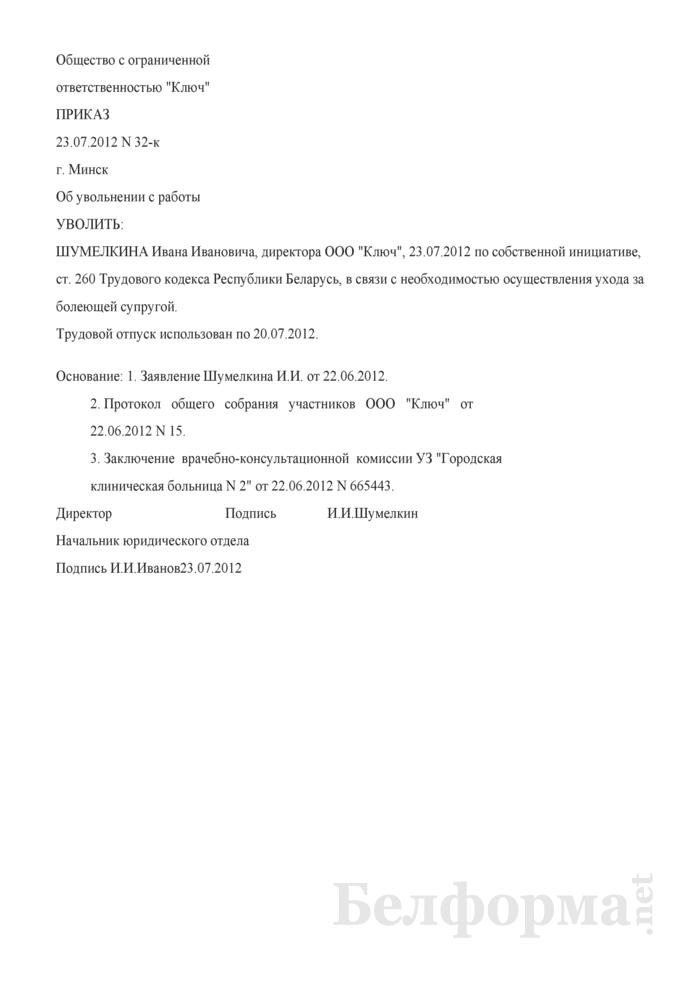 Приказ об увольнении руководителя хозяйственного общества в соответствии со ст. 260 ТК (Образец заполнения). Страница 1
