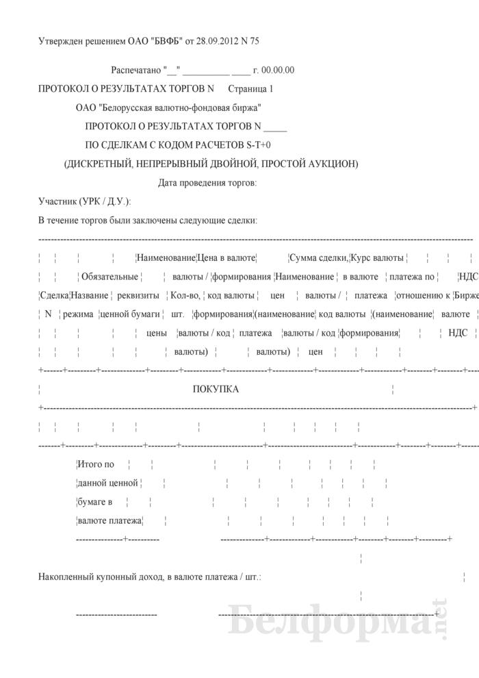 Протокол о результатах торгов по сделкам с кодом расчетов S-T+0 (дискретный, непрерывный двойной, простой аукцион). Страница 1