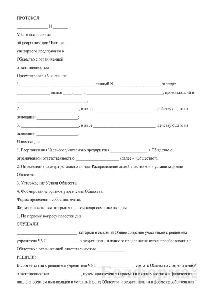 Протокол об реорганизации Частного унитарного предприятия в Общество с ограниченной ответственностью. Страница 1
