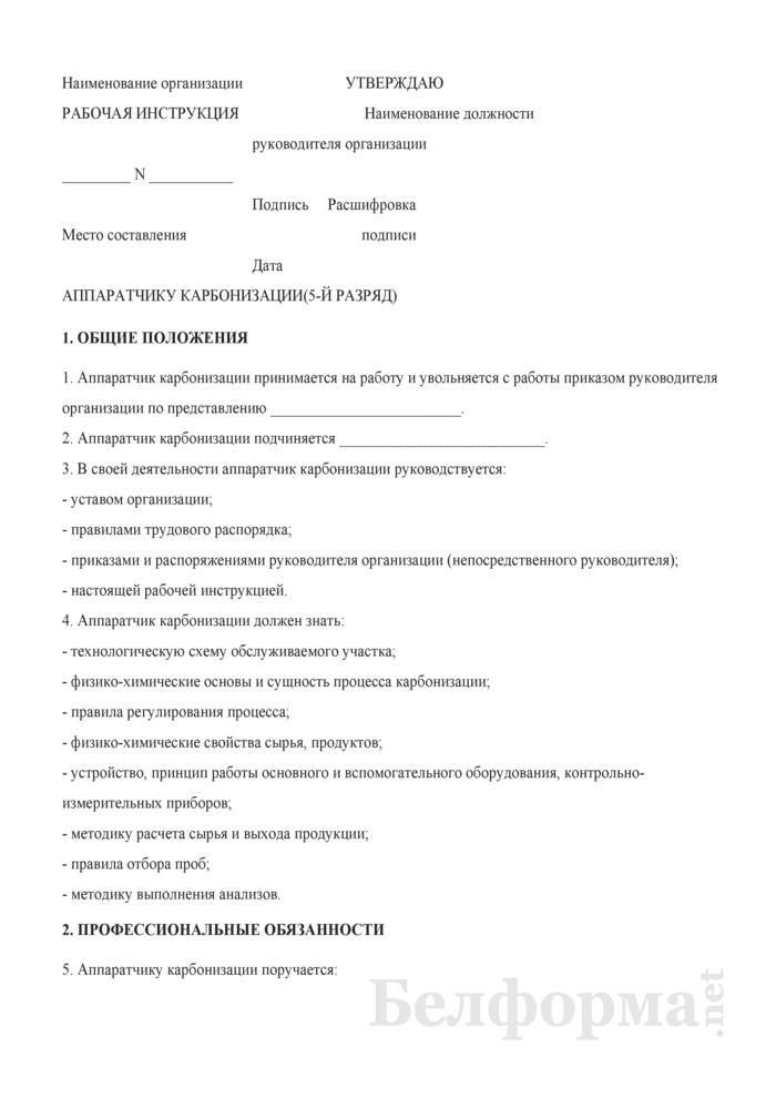 Рабочая инструкция аппаратчику карбонизации (5-й разряд). Страница 1