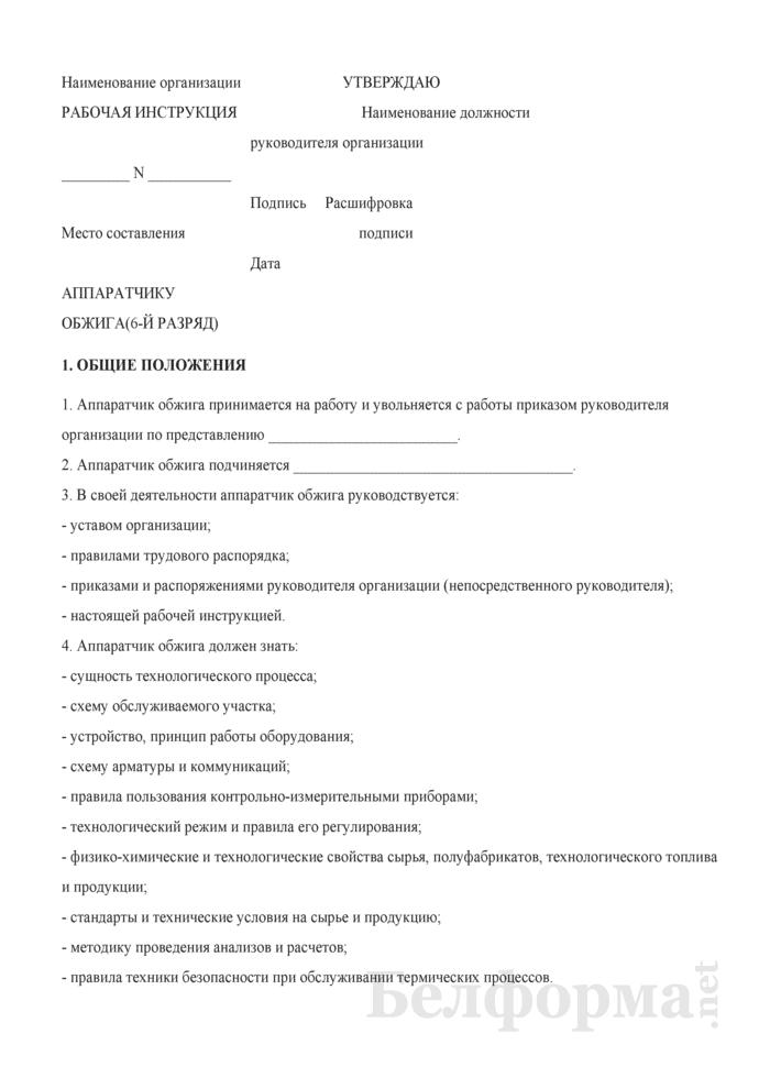 Рабочая инструкция аппаратчику обжига (6-й разряд). Страница 1