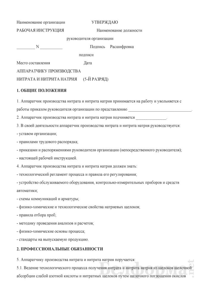 Рабочая инструкция аппаратчику производства нитрата и нитрита натрия (5-й разряд). Страница 1