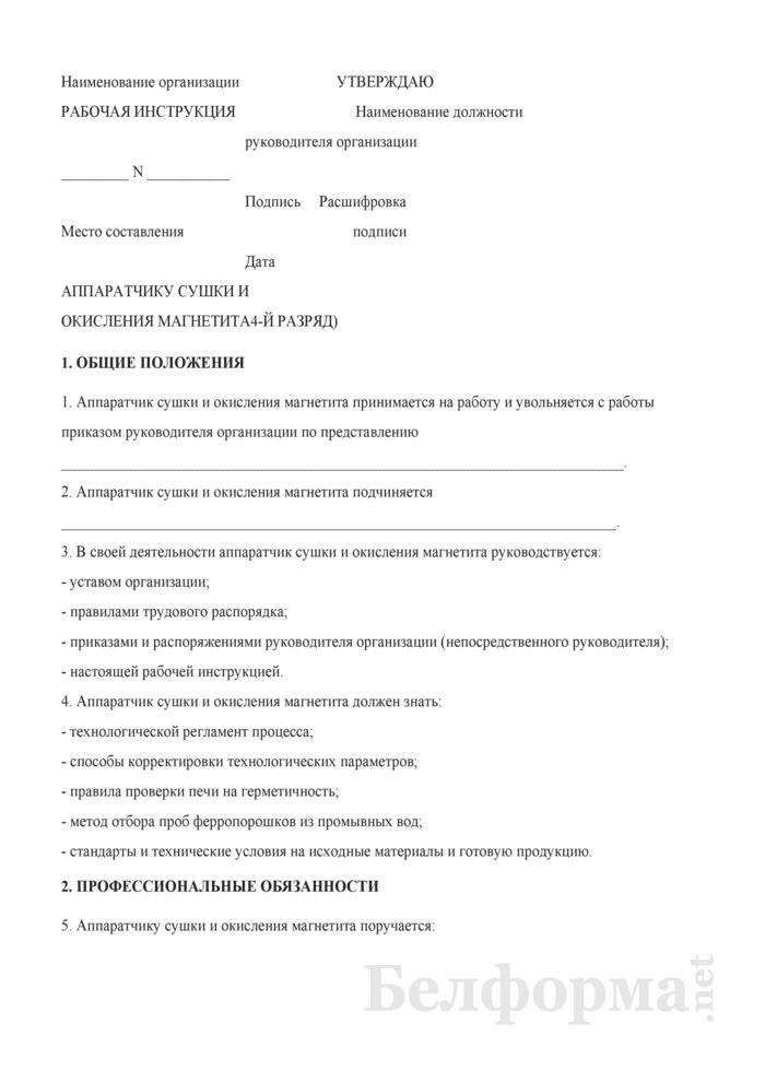 Рабочая инструкция аппаратчику сушки и окисления магнетита (4-й разряд). Страница 1