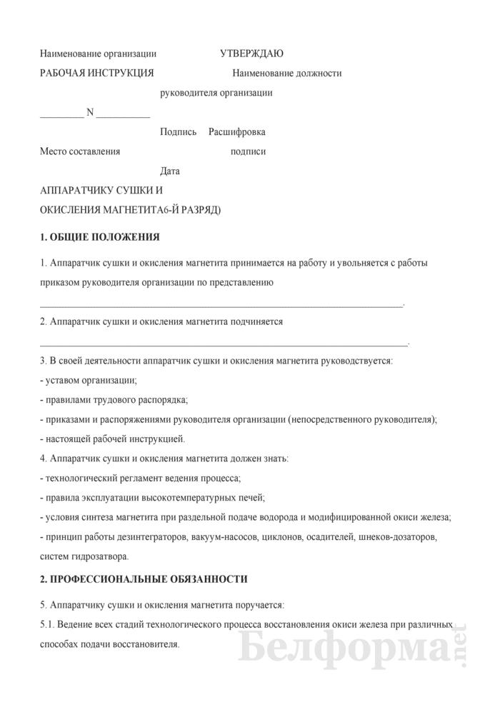 Рабочая инструкция аппаратчику сушки и окисления магнетита (6-й разряд). Страница 1