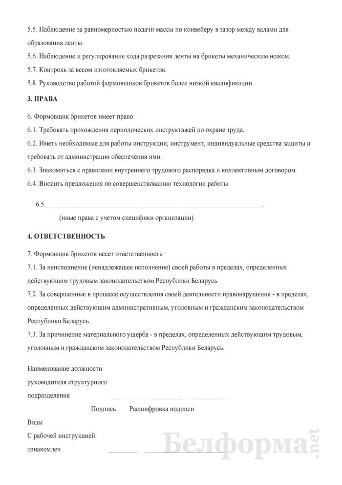 Рабочая инструкция формовщику брикетов (3-й разряд). Страница 2