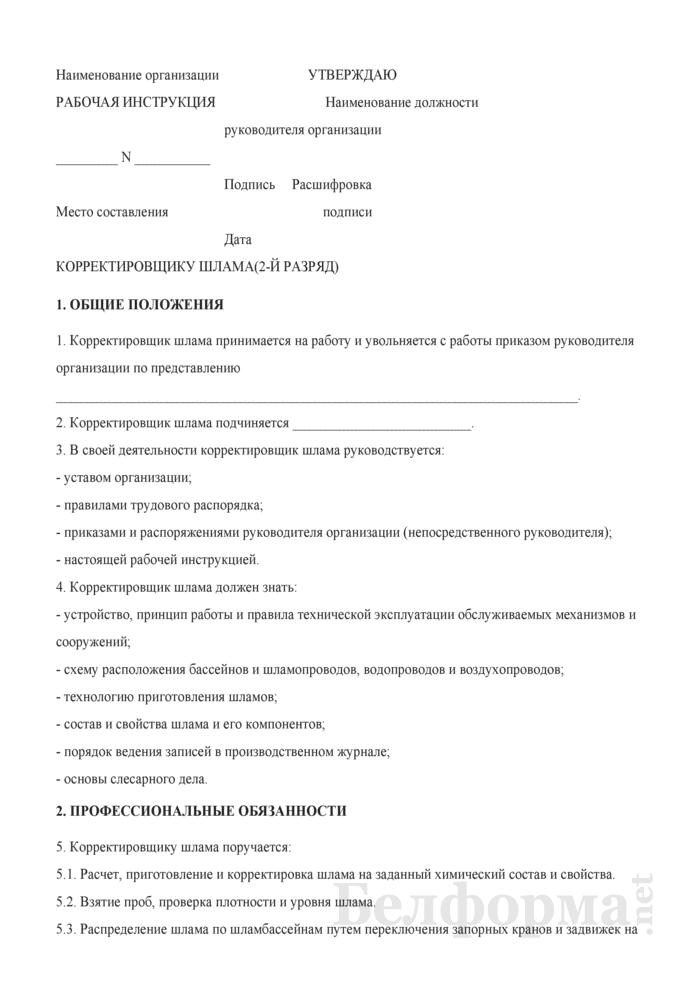 Рабочая инструкция корректировщику шлама (2-й разряд). Страница 1